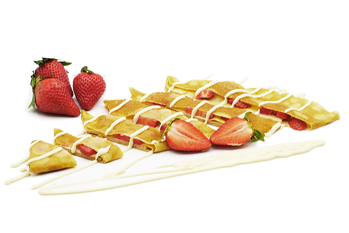 Foodally French Crepes strawberries and belgian white chocolate